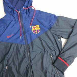 Nike Jackets & Coats - FC Barcelona Nike Zip-Up Windbreaker, Hooded